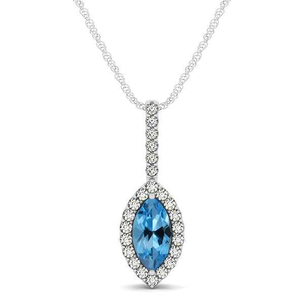 Fashionable Halo Marquise Cut Aquamarine Necklace