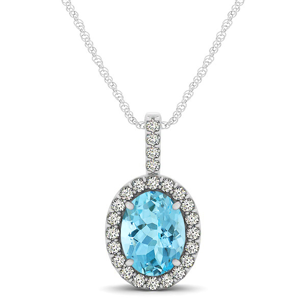 Classic Drop Halo Necklace with Oval AAA Aquamarine Pendant