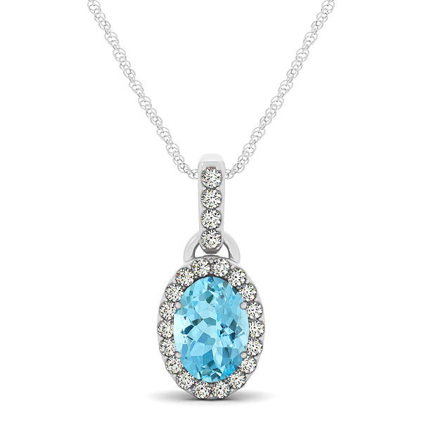 Lovely Halo Oval Aquamarine Necklace in Gold, Silver or Platinum
