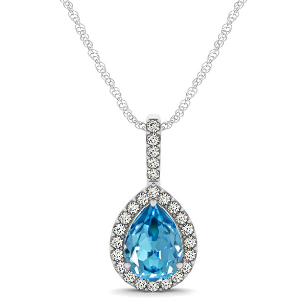 Classic Drop Necklace with Pear Cut Aquamarine Pendant