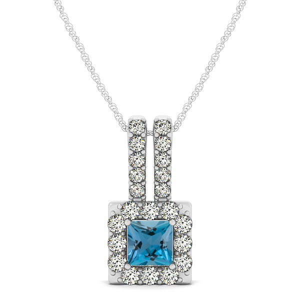 Contemporary Square Halo Necklace Princess Cut Aquamarine