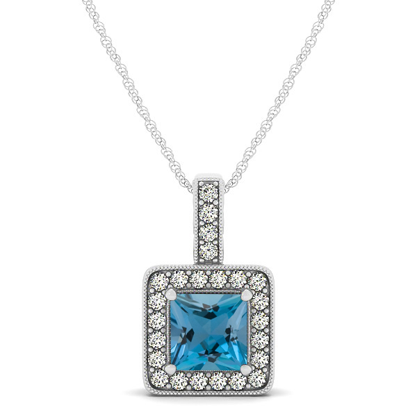 Square Aquamarine Halo Necklace in Gold or Sterling Silver
