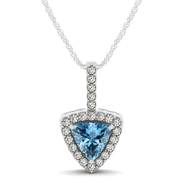 Beautiful Trillion Cut Aquamarine Halo Necklace