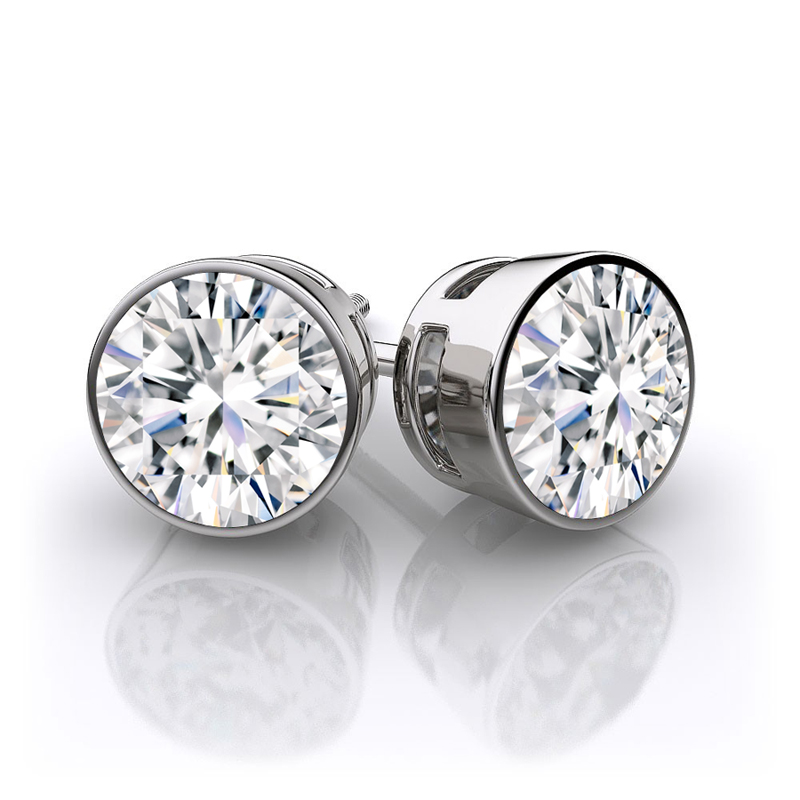 Fine Bezel Stud Earrings