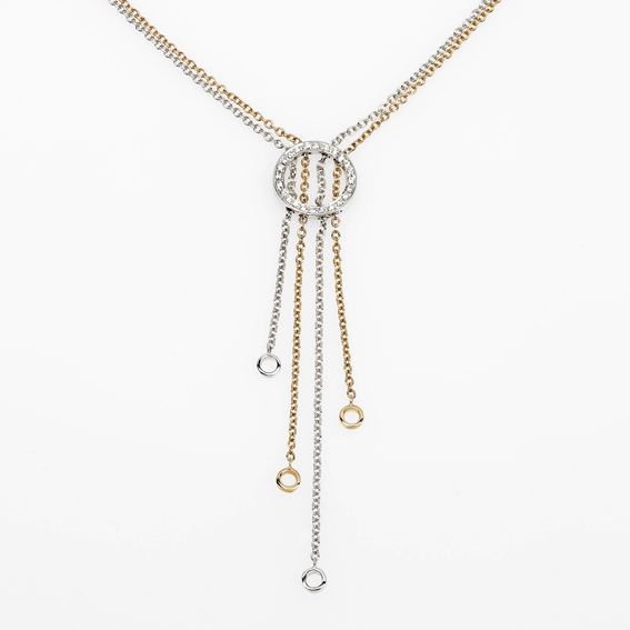 Italian Round Necklace with Crossed Chains 0.12 CT Diamonds