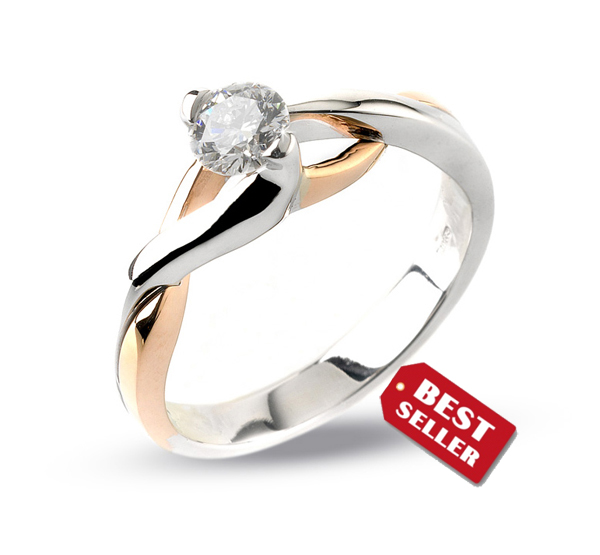 Unique Solitaire Engagement Ring 0.15 CT Diamond from Italy