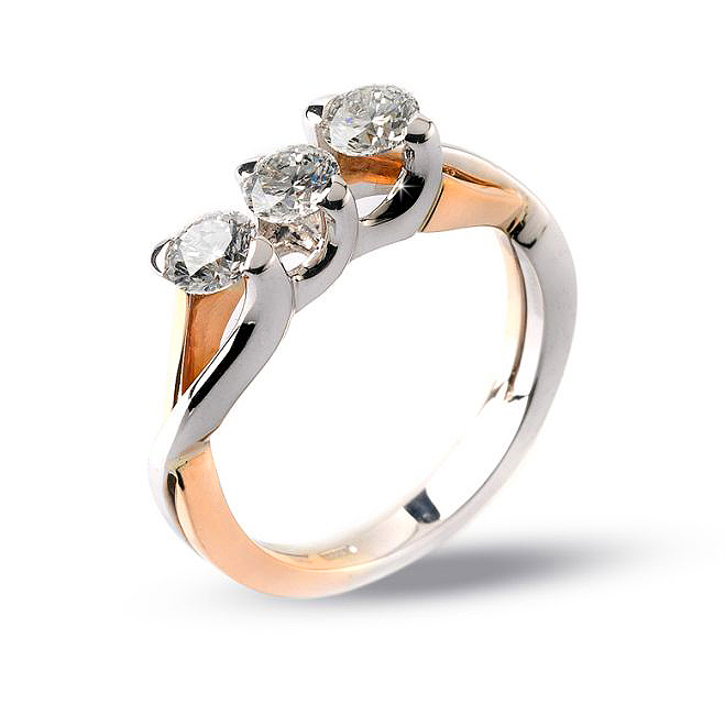 Exclusive Three-Stone Engagement Ring 0.45 CT Diamond Brilliant Cut