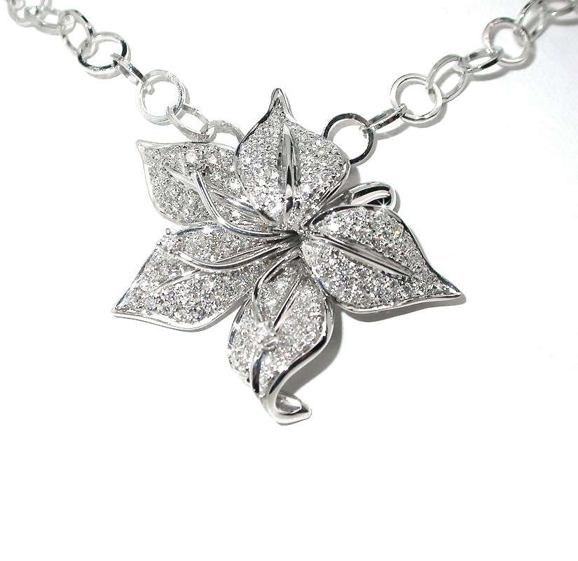 Exceptional Flower Leaf 2.04 CT Diamond Pave Necklace from Italy