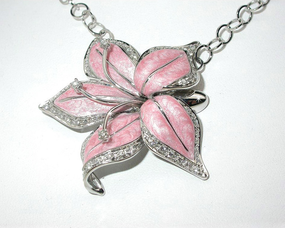 Italian Pink Enamel Flower Leaf Pendant & Necklace 0.09 CT Diamonds