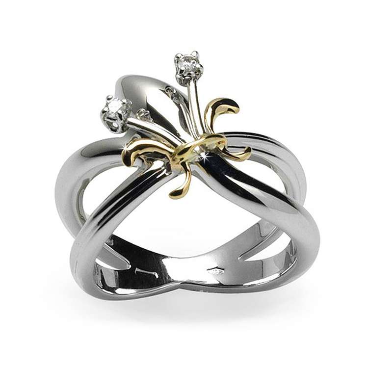 Exquisite Lily Flower Ring with Brilliant Cut 0.05 CT Diamond Pave