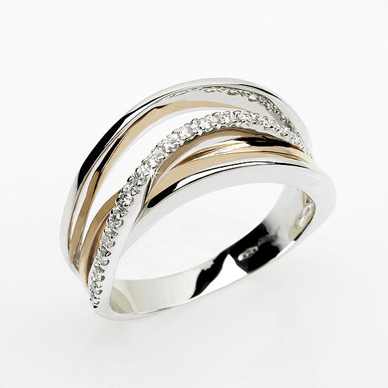 Deluxe Italian 015 CT Diamond Wedding Ring 18K White Yellow Gold