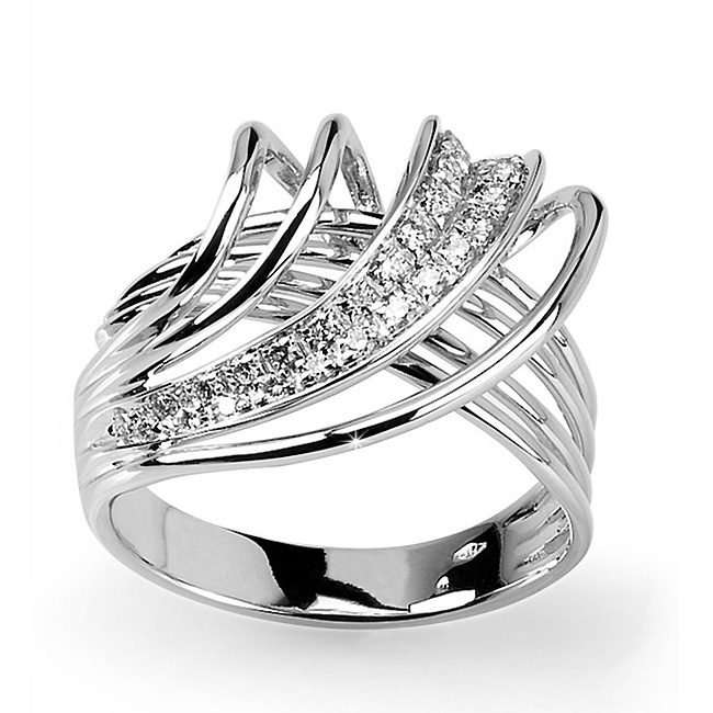 Elegant Wire Italian Ring 0.30 CT Diamond Pave 18K White Gold