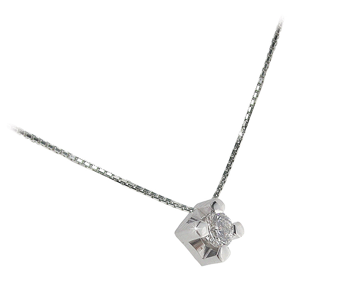 Italian Square Design Necklace with Brilliant Cut 0.03 CT Diamond