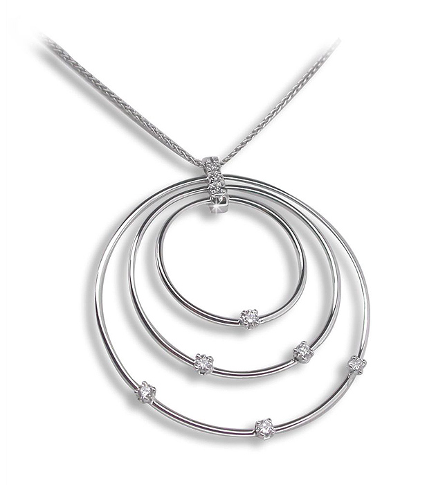 Italian Multi Circle Necklace 18K White Gold 0.39 CT Diamonds