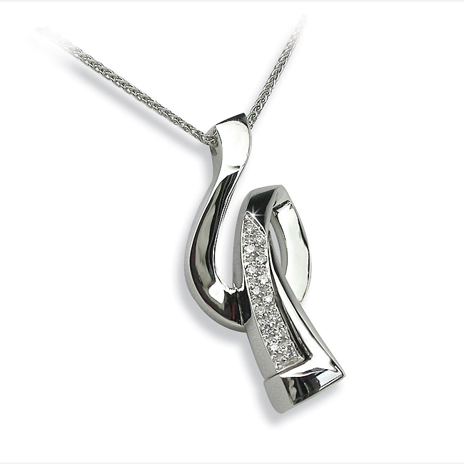 Music Key 0.10 CT Diamond Pendant & Chain from Italy