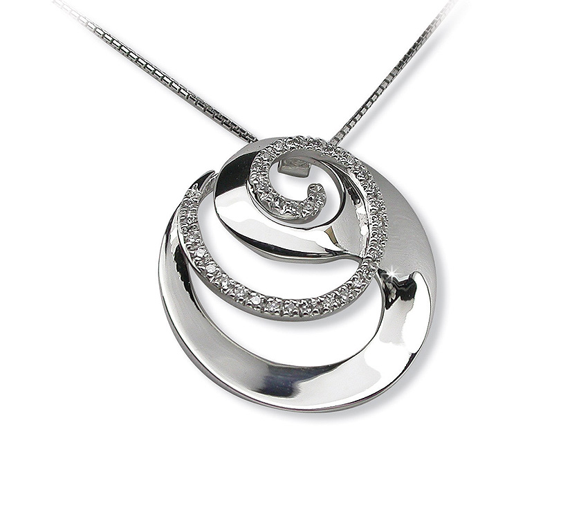 Extravagant Spiral Circle Necklace 0.20 CT Brilliant Diamond Pave