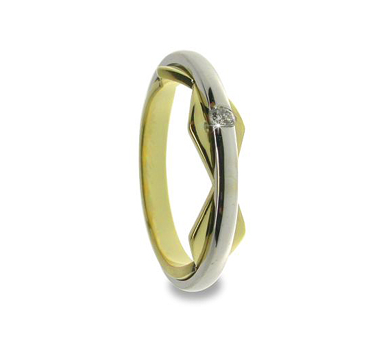 Contemporary Wedding Band 0.05 CT Diamond 18K Yellow Gold