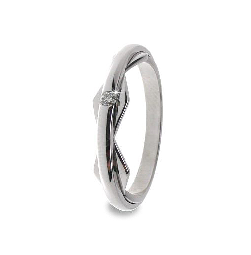Contemporary Wedding Band 0.05 CT Diamond 18K White Gold