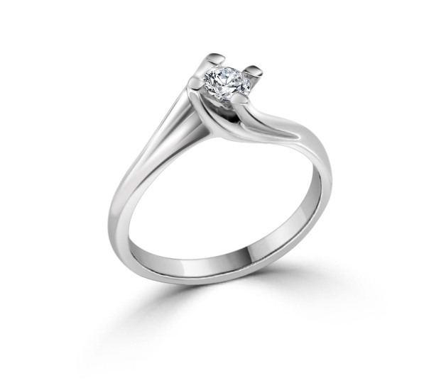 Elegant Solitaire 0.20 CT Diamond Engagement Ring 18K White Gold