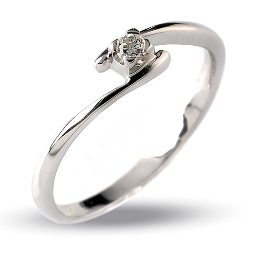 Elegant Italian Solitaire Diamond Engagement Ring 0.05 CT 18K White Gold