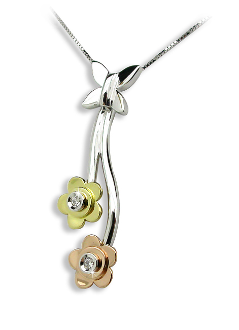 Unique Flower Necklace 0.02 CT Diamond White / Yellow / Pink Gold