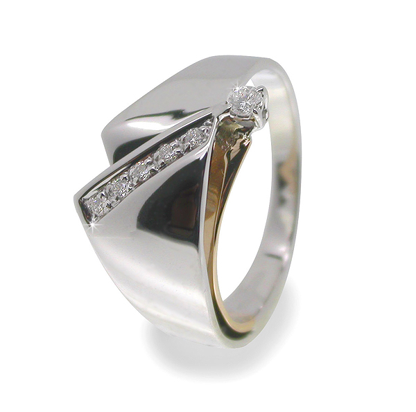 Contemporary Design 0.10 CT Italian Diamond Ring 18K Gold