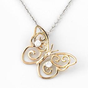 Fine Butterfly Necklace 18K Gold with Diamonds