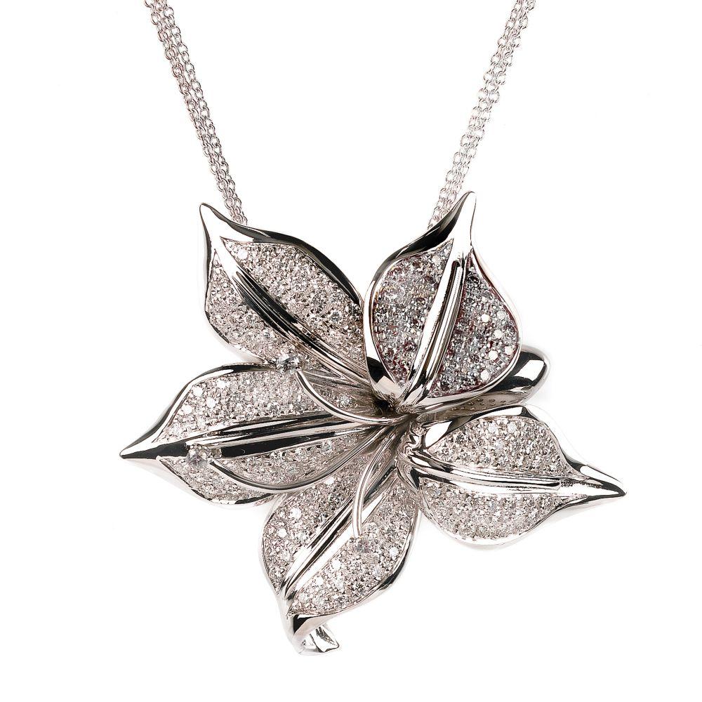Exquisite 179 ct diamond flower necklace 18k white gold mightylinksfo