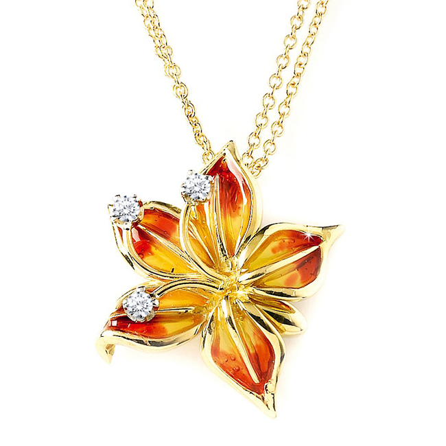 Luxury Flower Necklace 18K Yellow Gold