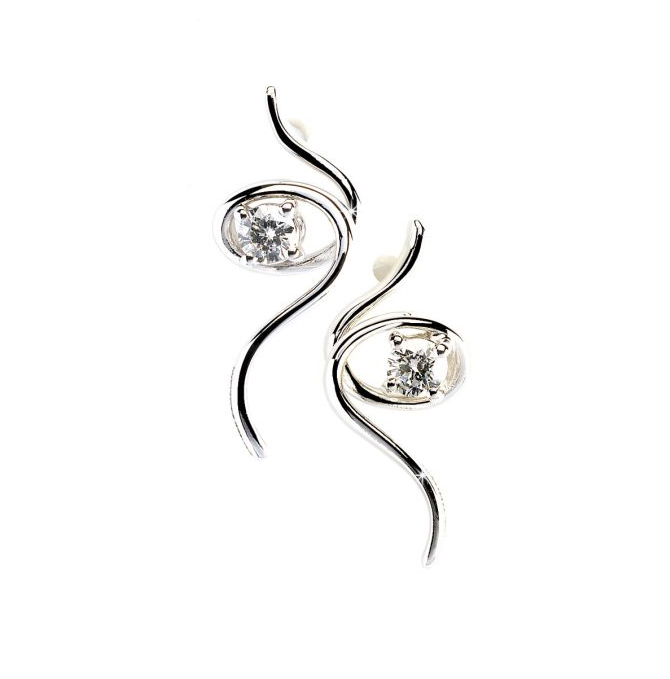 Elegant Spiral Italian Diamond Earrings with 0.10 CT 18K White Gold