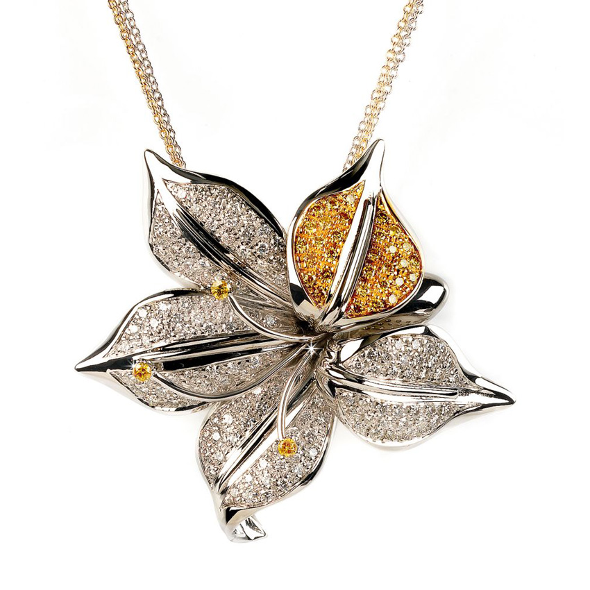 Unique Flower Necklace 2.5CT Diamonds