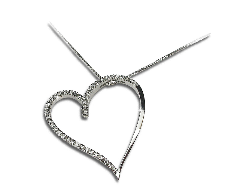 Unique Heart Necklace 1/3 CT Diamonds