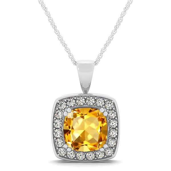 Attractive Gold Yellow Cushion Citrine Halo Necklace