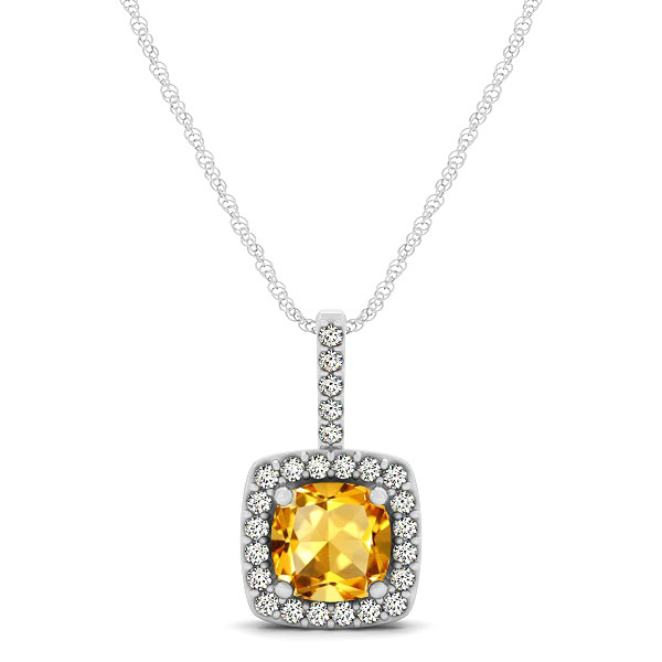 Cushion Citrine Square Halo Necklace