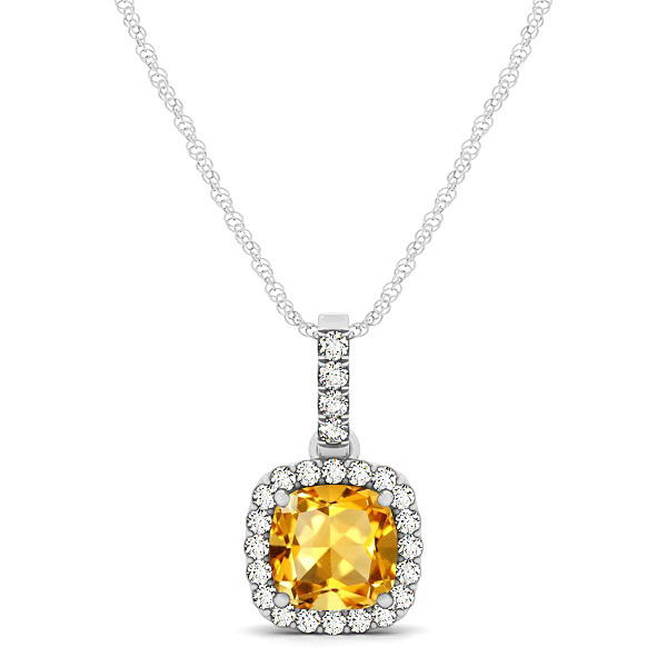 Elegant Cushion Citrine Halo Pendant Necklace