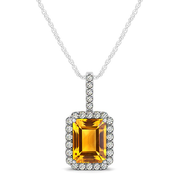 Halo Emerald Cut Citrine Necklace Classic Design