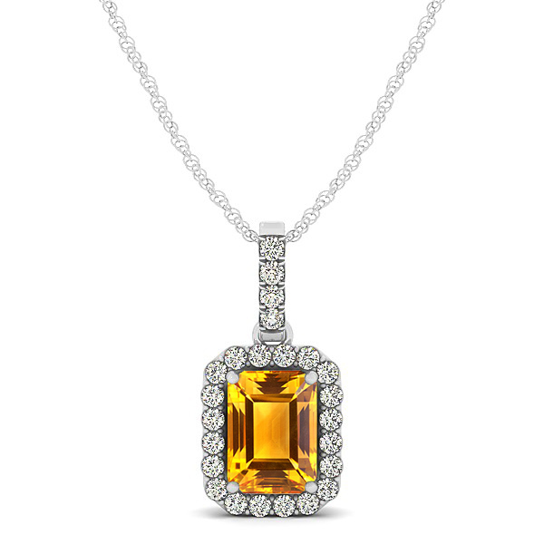 Classic Emerald Cut Citrine Necklace with Halo Pendant