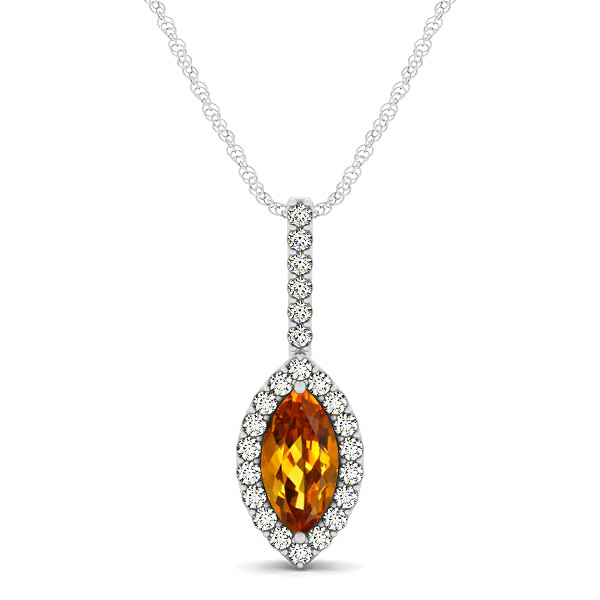 Fashionable Halo Marquise Cut Citrine Necklace