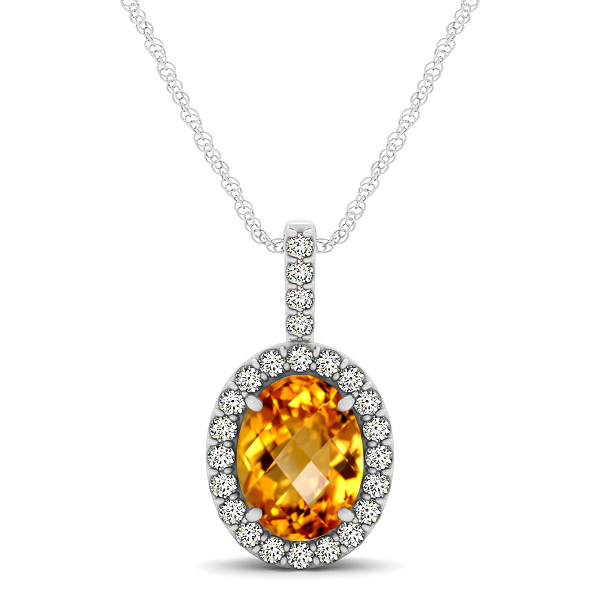 Classic Drop Halo Necklace with Oval AAA Citrine Pendant
