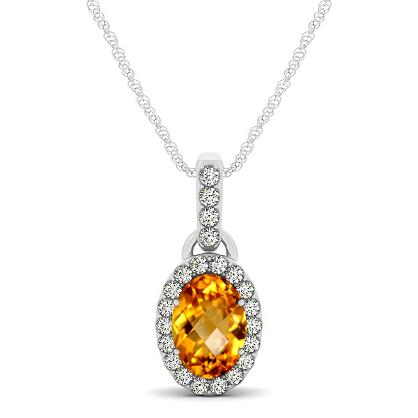 Lovely Halo Oval Citrine Necklace in Gold, Silver or Platinum