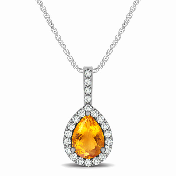 Exclusive Pear Halo Citrine Pendant Necklace