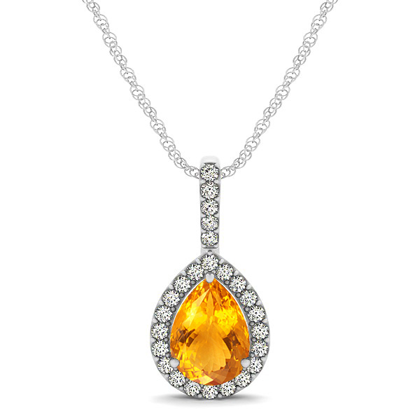 Classic Drop Necklace with Pear Cut Citrine Pendant