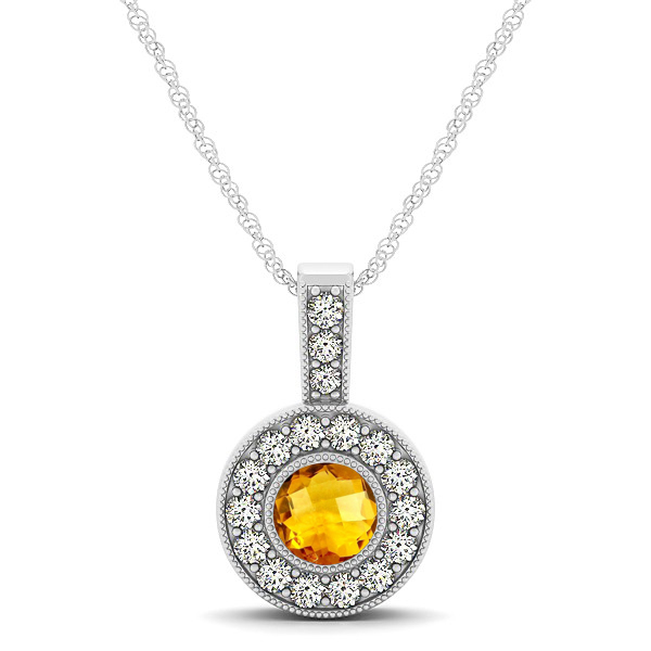 Gold Yellow AAA Round Citrine Vintage Halo Drop Necklace