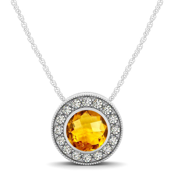 Halo Citrine Necklace with Round Pendant
