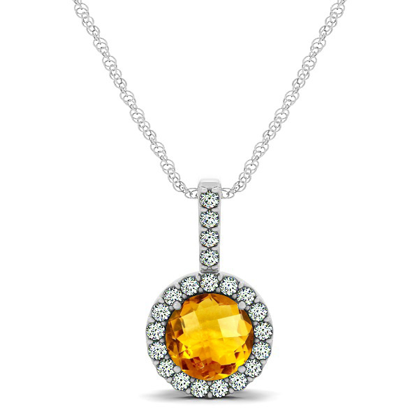 Gorgeous Round Citrine Halo Necklace