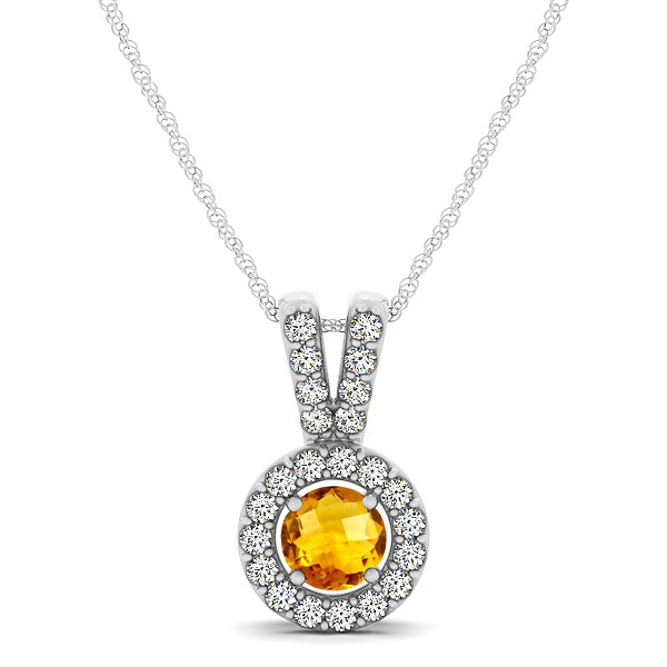 Avant-Garde Round Halo Citrine Necklace