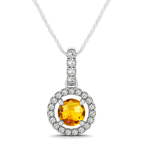 Extraordinary Floating Round Citrine Halo Drop Necklace