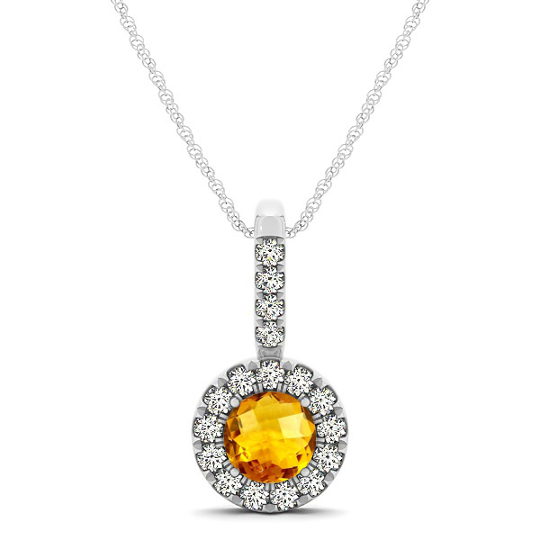 Round Cut Citrine Halo Pendant & Necklace