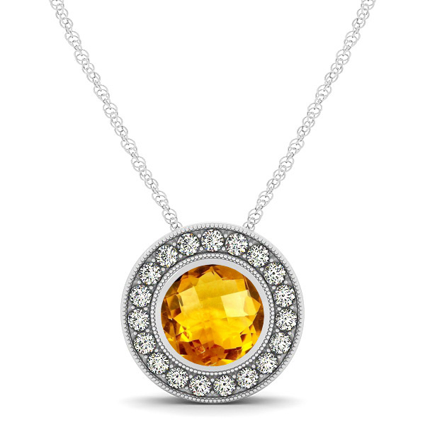 Classy Halo Necklace with Round Cut Citrine Pendant
