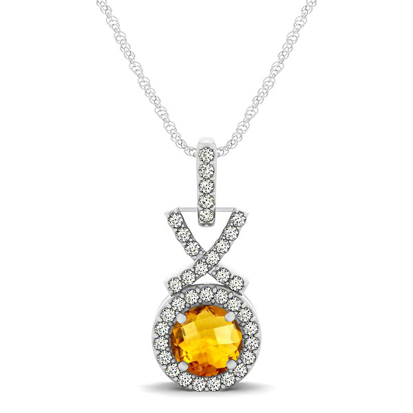 Modern XO Round Citrine Pendant Necklace